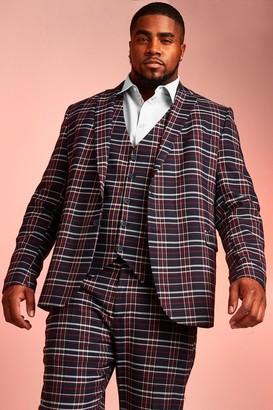 BoohoomanBoohooMAN Mens Navy Big & Tall Skinny Fit Tartan Check Blazer, Navy