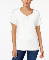 Karen Scott Petite Cotton Henley T-Shirt, Created for Macy's