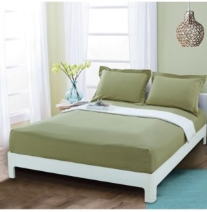 Elegant Comfort Silky Soft Single Fitted Sheet Full Sage Bedding