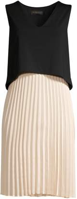 Donna Karan Popover Pleated Skirt Shift Dress