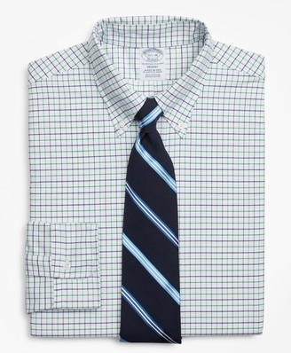 Brooks Brothers Original Polo Button-Down Oxford Regent Fitted Dress Shirt, Windowpane