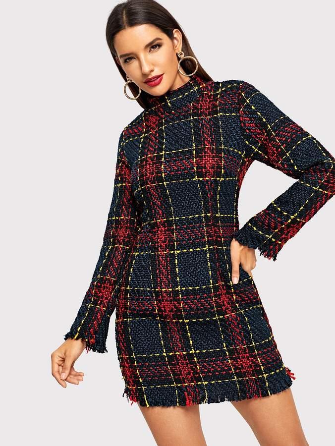 Shein Mock Neck Raw Edge Tweed Dress
