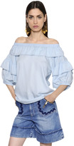 Sonia Rykiel Off The Shoulder Ruffled Chambray Blouse
