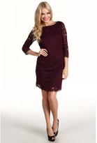 Trina Turk Geddes Lace 3/4 Sleeve Dress (Plum) - Apparel