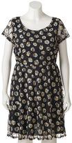 Wrapper Juniors' Plus Size Floral Lace A-Line Dress