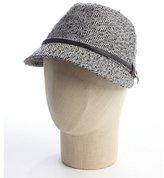 San Diego Hat Company black wool blend tweed faux leather strap fedora