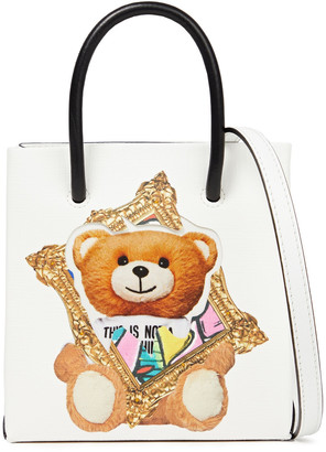Moschino Appliqued Printed Faux Leather Tote