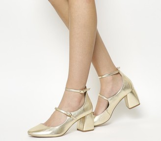 Office Mildred Block Heel Mary Janes Gold