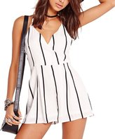 Leezeshaw Women Sexy Criss Strappy Backless Stripes Tunic Loose Jumpsuit Rompers