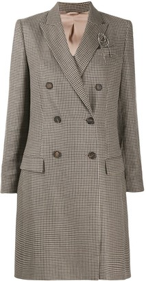 Brunello Cucinelli Houndstooth Double-Breasted Coat