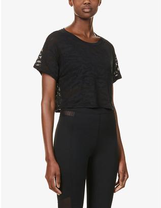 Good American Burnout zebra-print semi-sheer cotton-blend T-shirt