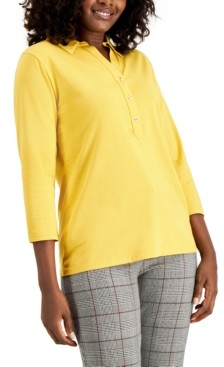 Charter Club Supima Cotton 3/4-Sleeve Polo, Created for Macy's