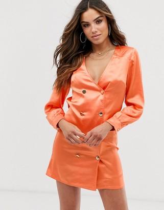 Club L London double breasted satin shirt dress-Orange