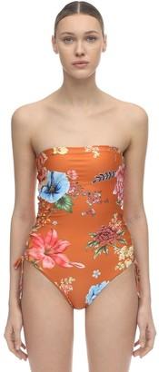 Agua Bendita Sandy Floral Print Strapless Swimsuit