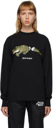 Palm Angels Black Croco Long Sleeve T-Shirt