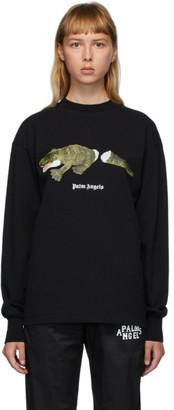 Palm Angels Black Croco Long Sleeve T-Shirt