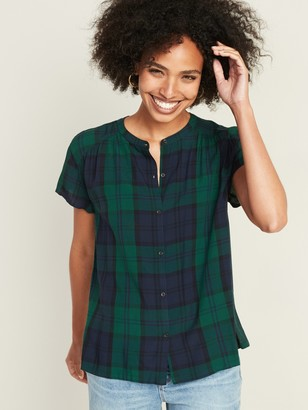 Old Navy Button-Front Plaid Blouse for Women