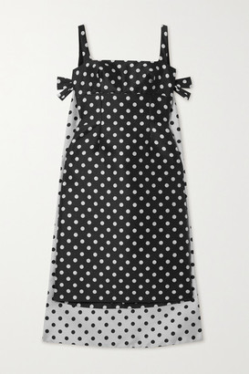 Emilia Wickstead Norrie Cape-effect Polka-dot Jacquard Mini Dress - Black