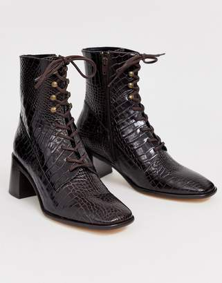 Miista Eeight E8 by Emma leather mid heeled lace up boot in brown croc