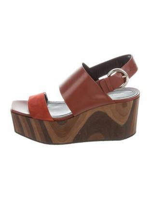 Celine Leather Slingback Sandals Red