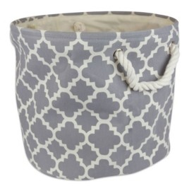 Design Imports Polyester Bin Lattice Round Medium