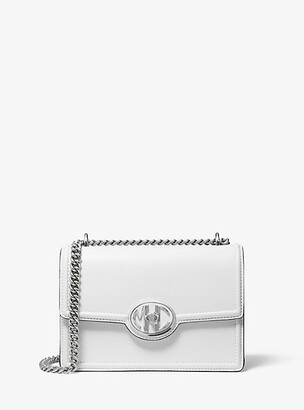 Michael Kors Monogramme Leather Chain Shoulder Bag - Optic White