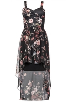 Quiz Black Floral Chiffon Dip Hem Dress