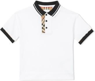BURBERRY KIDS TEEN Vintage Check trim polo shirt