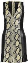 Just Cavalli Paneled Snake-Effect Leather Mini Dress