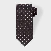 Paul Smith Men's Black And White Star Pattern Silk Tie