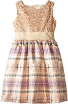 Us Angels Sequin Aztec Brocade Tank Dress w/ Full Skirt (Little Kids)