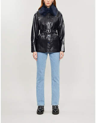 KITRI Stella croc-embossed faux-leather jacket