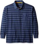 Nautica Men's Big-Tall Striped Long Sleeve Polo Shirt