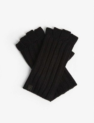 AllSaints Ribbed cut-off finger gloves