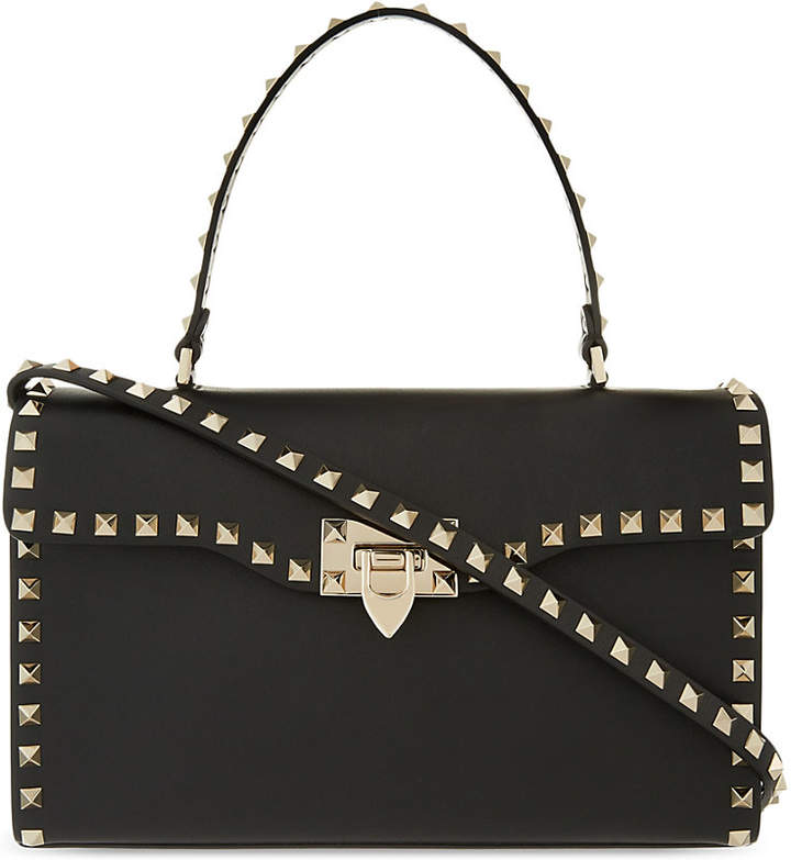 Valentino Rockstud leather top handle tote