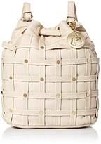 MG Collection Studded Woven Bucket Drawstring bag