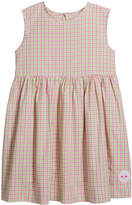 Smiling Button Girl's Pinny Spring Check Print Sleeveless Dress, Size 0-10