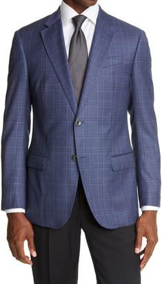 Emporio Armani Slim Fit Plaid Wool Sport Coat