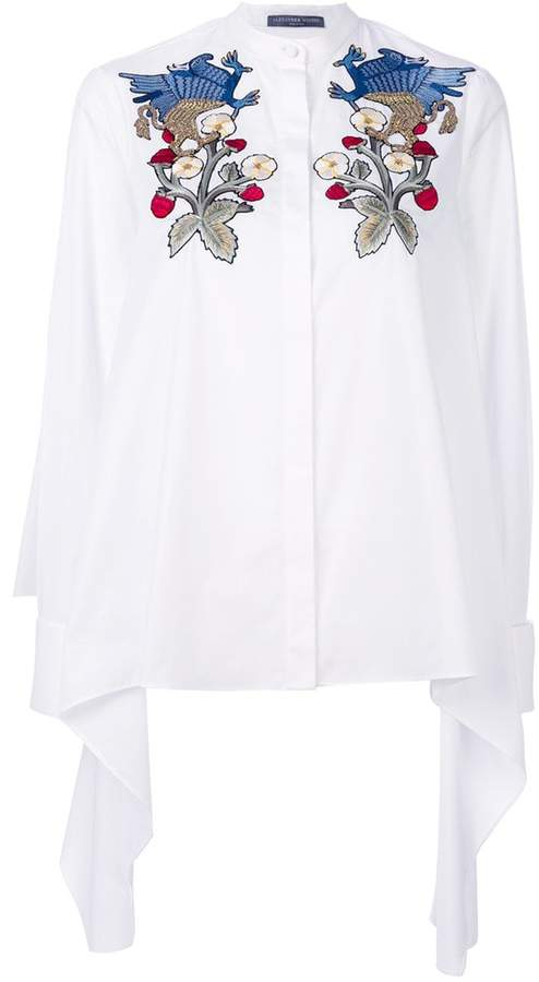 Alexander McQueen floral and gryphon embroidered blouse