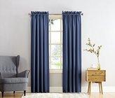 Sun Zero Barrow Energy Efficient Rod Pocket Curtain Panel, 54 x 95 inch, Navy Blue