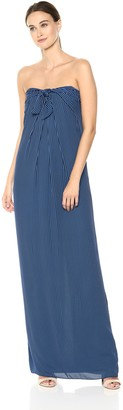 Halston Women's Strapless Tie Front Striped Gown