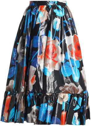 MSGM Coated Floral-print Cotton Midi Skirt