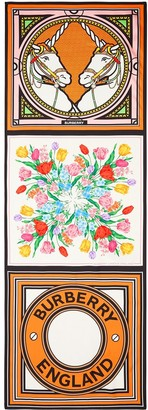 Burberry Montage-Print Silk Scarf