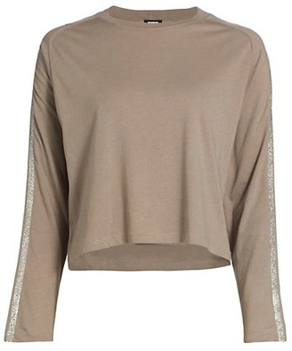 Monrow Glitter Stripe Lounge Long-Sleeve Top