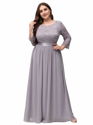 Ever Pretty Ever-Pretty Women's A Line 3/4 Sleeves Round Neck Lace Floor Length Elegant Plus Size Bridesmaid Dresses Navy Blue 22UK