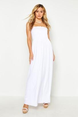 boohoo Petite Shirred Bandeau Maxi Dress