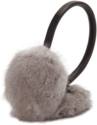 Surell Accessories Leather & Mink Fur Earmuffs