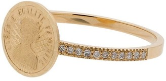 Anissa Kermiche gold diamond embellished 18K gold coin ring