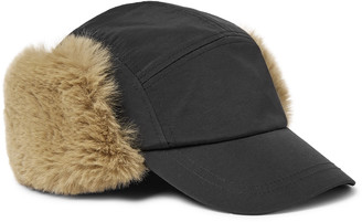 Paul Smith Faux Shearling And Nylon Trapper Hat