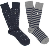 Polo Ralph Lauren Two-pack Stretch Cotton-blend Socks - Navy
